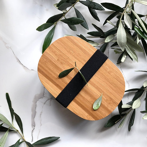 Stainless Steel Snack Box with Bamboo Lid