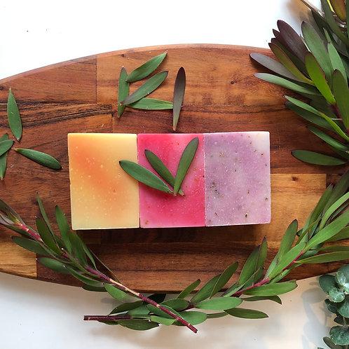 Floral Trio Soap Gift Box (Rose Petal, Lavender, Frangipani)a