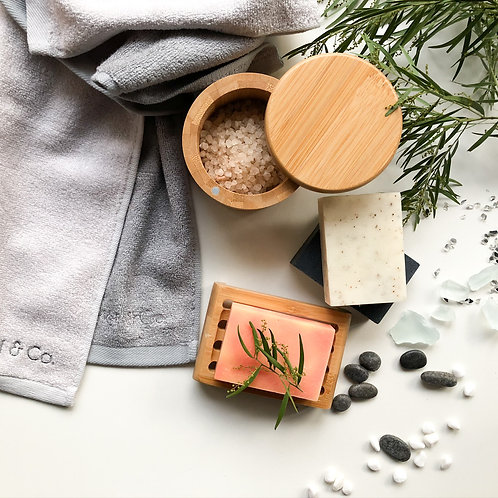 Deluxe Sustainable Gift Set (Natural Soap, Bamboo towels, container)