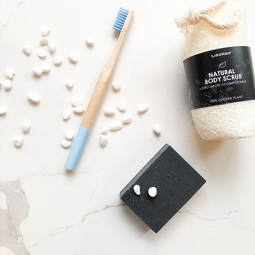 Trial Pack III: Toothbrush, Charcoal Bar, Loofah Body Scrub