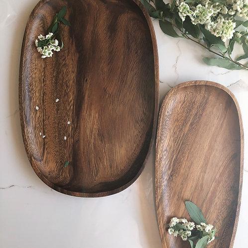 Acacia Wooden Serving Plate Set (2 pieces)