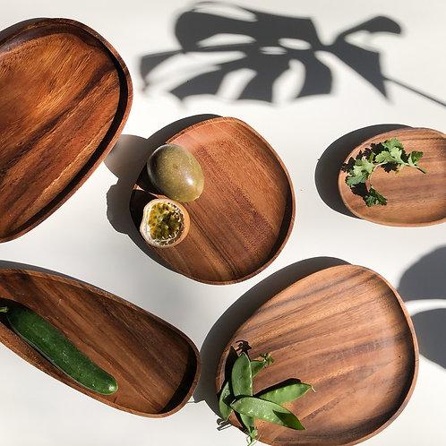 Eco Friendly Acacia Wooden Plate Set (5 pieces)