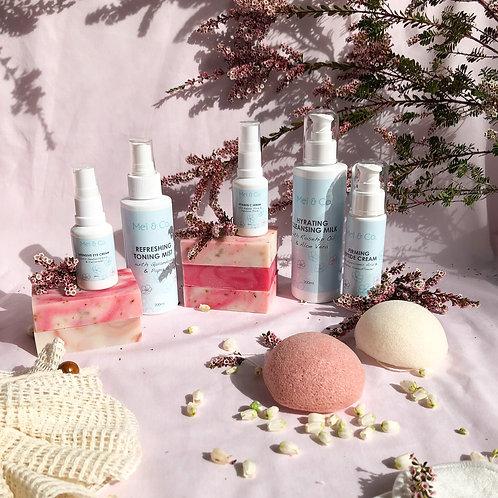 Mei & Co. Skin Care Gift Bundle (Vegan Face/Eye Cream, Serum & Cleanser)