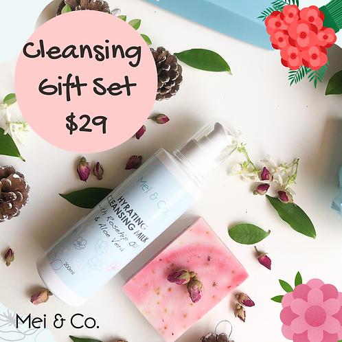 Natural, Vegan Cleansing Milk & Rose Petal Soap Gift Set