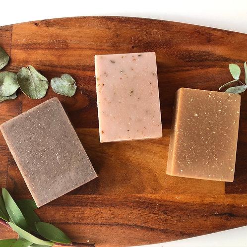 Luxe Trio Soap Gift Box (Cedarwood Scrub, Lavender Delux, Vanilla & Oatmeal)