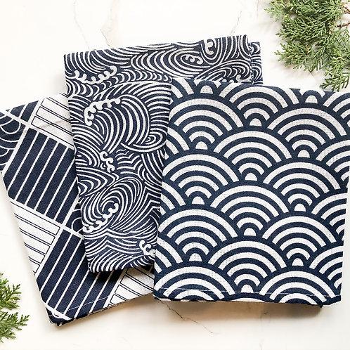 Set of 3 Cotton & Linen Tea Towels (Japanese Style)