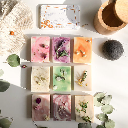 Delux Triple Trio Soap Gift Pack (Natural soaps, Konjac Sponge, Ramie Body Puff)
