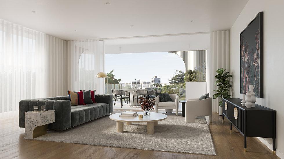 8 Carlton Internal 3D Render - Living Ro