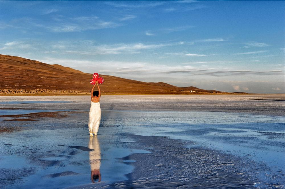 Waiting for the rain - a self-portrait of hope in the Salar de Uyuni, Southern Bolivia