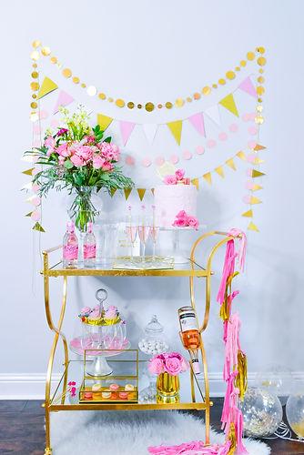 Pink Rose Gold Birthday Party Celebration Cart
