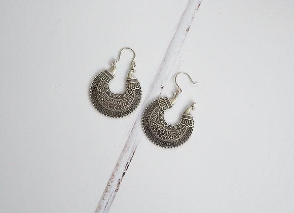 Fleur silver tribal floral drop earrings