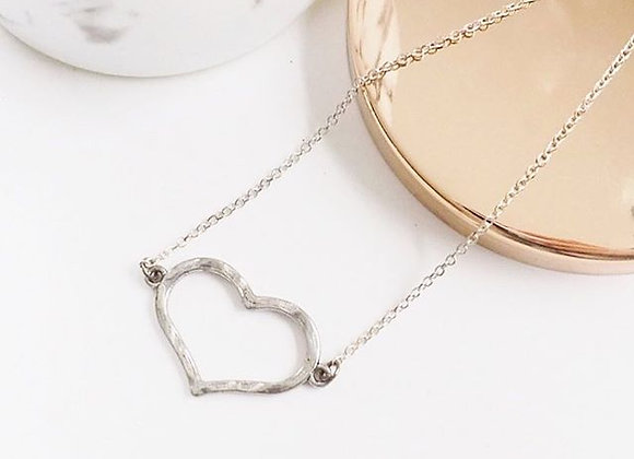 Hammered Open Heart Necklace
