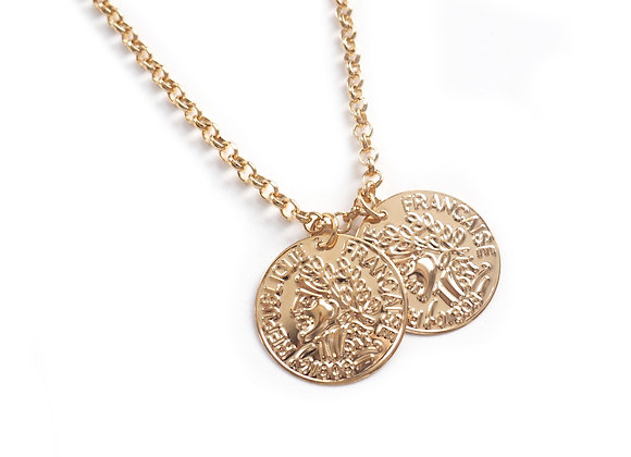 Golden Double Coin Necklace