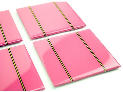 Pink Bands Coaster Set