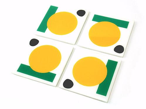 Mid Century Modern Handpainted Coasters