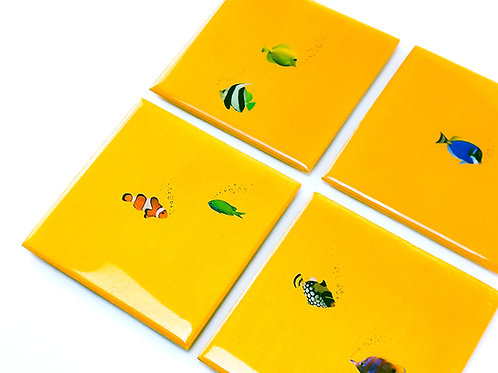 Tropical Gold Fish Coasters