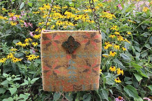 Gold Floral Felted Shoulder Bag