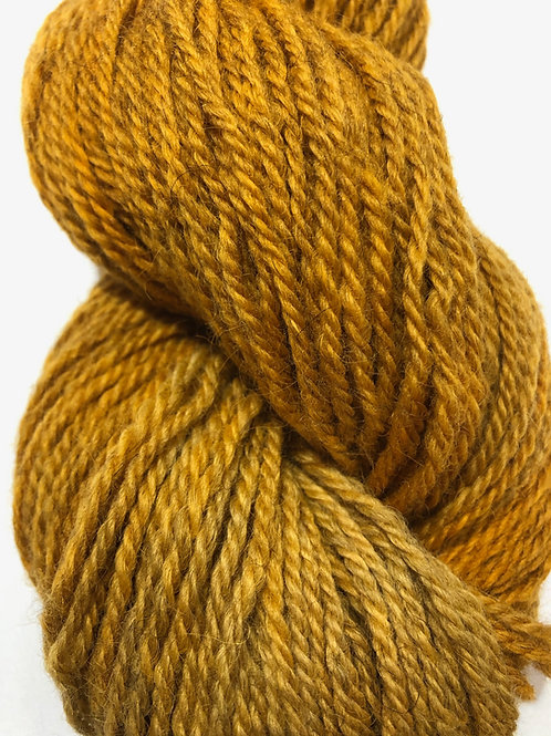 Mustard, tonal, on grey Icelandic w/ 20-30% Merino, Worsted wt.