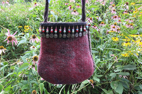 Pink Felted Shoulder Bag with Beaded Fringe