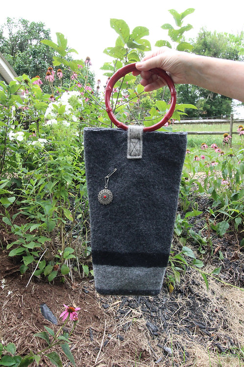 Striped Felted Bag with Red Handles