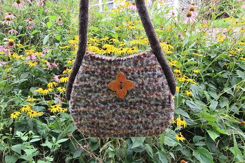 Knit-Felted Shoulder Bag with Orange Ceramic Button