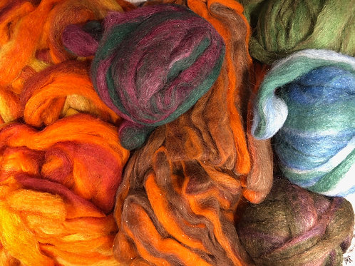 Roving, Icelandic, various colors dyed.