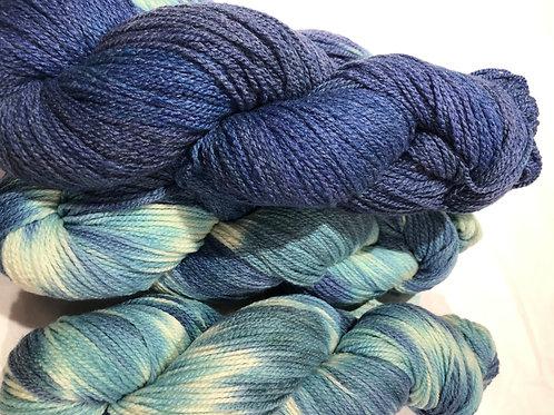Colonial Blue, Merino w/ 10% Silk, Fingering wt.
