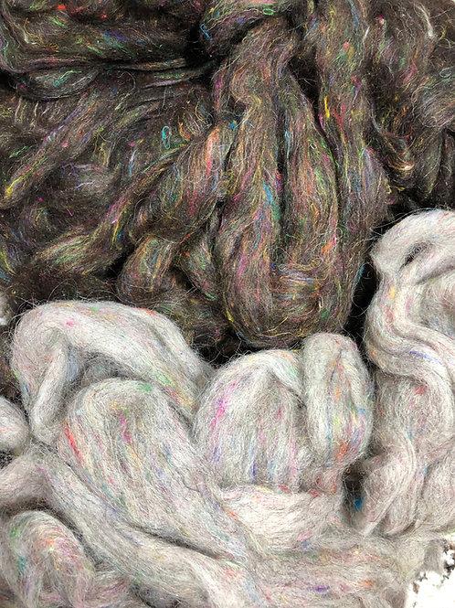Roving, Icelandic w/ 10% Sari Silk, 2 colors