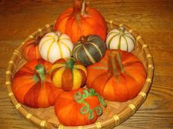 Needle-felted pumpkins