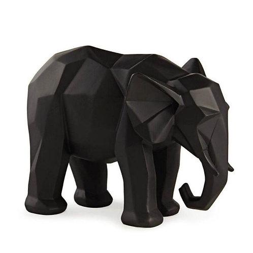 Elefante Abstrato Resina Preto Grande