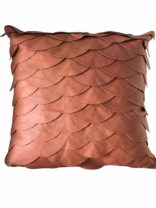 Almofada couro natural ocre