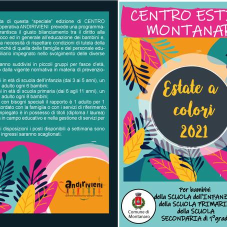 """CENTRI ESTIVI 2021 """"UN'ESTATE A COLORI"""" Comune di MONTANARO"""