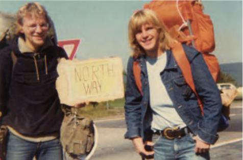 Nach der  US – Tramptour, 1976, gehen die Freunde getrennte Weg. Yogi Reppmann, li., wird Historiker, Thies Matzen, Weltumsegler. Foto: Privat (HFR)
