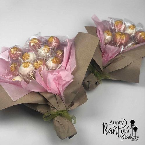 Love Birds Cake Pop Bouquet - Pink & Gold