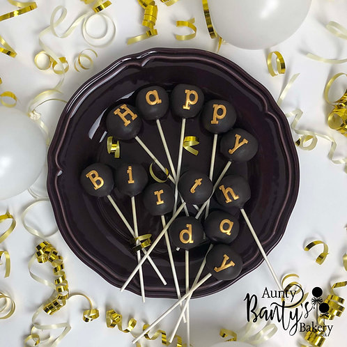 Birthday Cake Pops - Black & Gold