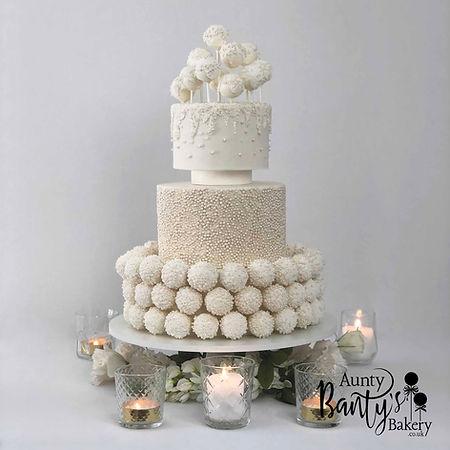 Pearl Drip Wedding Cake Image 2 with Log