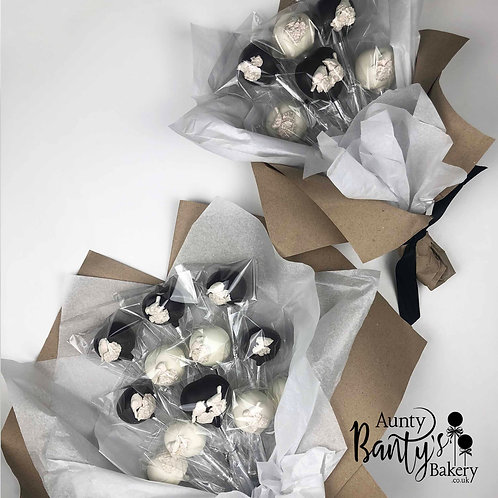 Love Birds Cake Pop Bouquet - Black & Silver