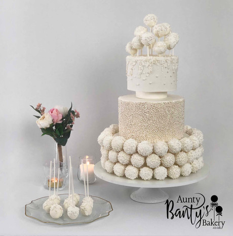 Pearl Drip Wedding Cake Image 10 with Lo