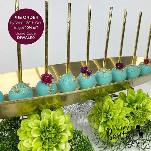 Teal Floral Diwali Cake Pops