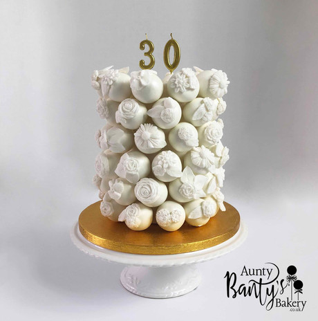 White Floral Celebration  Cake Pop Cake