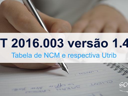 Publicada NT 2016.003 versão 1.40 - Tabela de NCM