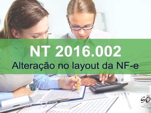 Publicada atualização da NT 2016.002 - Alteração no layout da NF-e