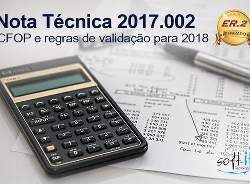 Publicada Nota Técnica 2017.002 com novos códigos CFOP
