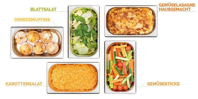 Gemüselasagne, Salat, Gemüsesticks und Himbermuffins