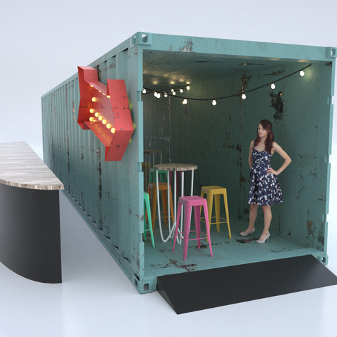 Cargo Container with standing cab tables