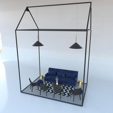 Wireframe House w/ decor.