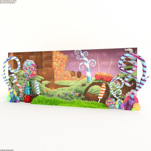 Willy Wonka perimeter decor.