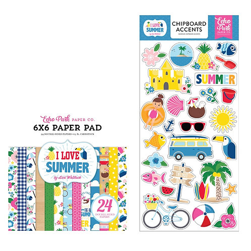 "Echo Park- ""I Love Summer"" Chipboard Accents & 6x6 Paper Pad"