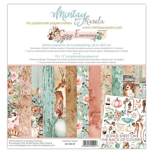 "Mintay Papers - Cozy Evenings 12""x12"" Paper Collection"