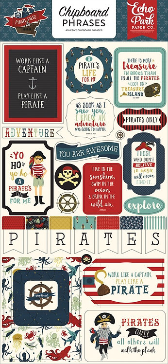 """Echo Park- """"Pirate Tales"""" Chipboard Phrases"""